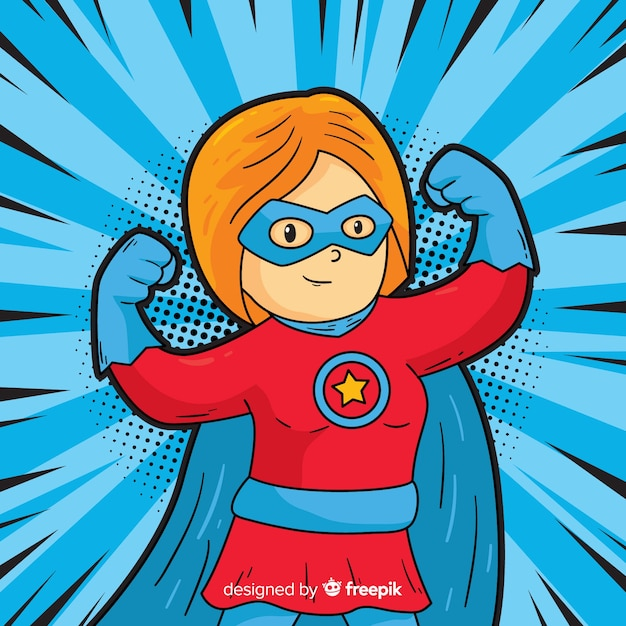 Superheroine character with pop art style Free Vector