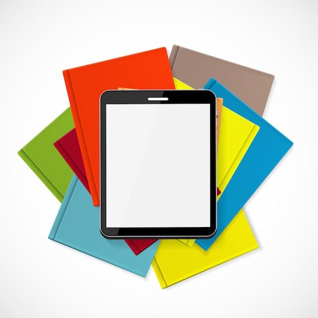 紙の本の概念図以上の優位性電子書籍 Premiumベクター