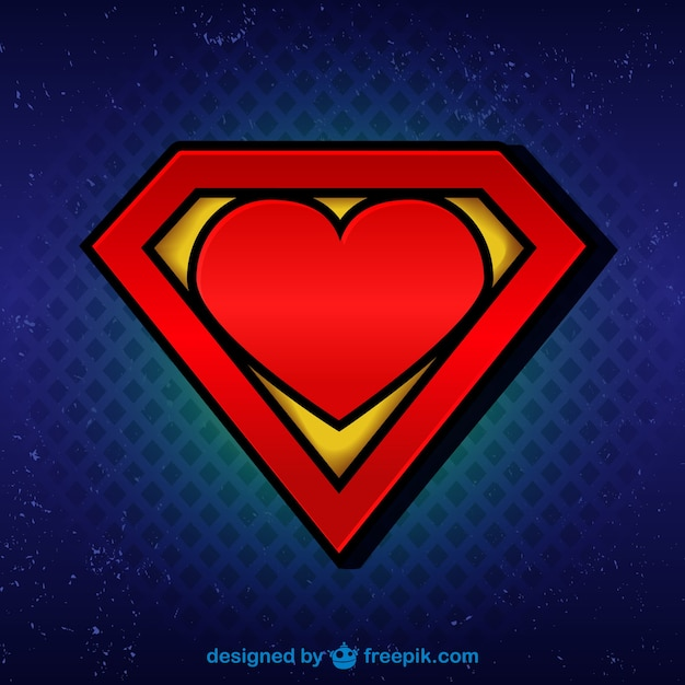 Superman Logo With Heart Free Vector