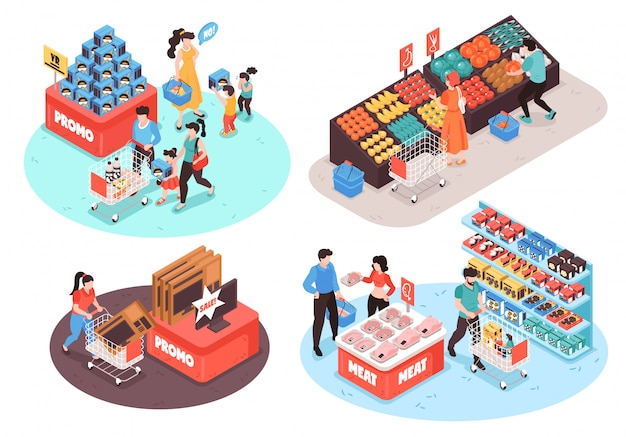 Supermarket 4 isometric compositions concept with fruits vegetables meat poultry grocery promo sections customers isolated Free Vector