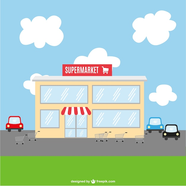 Supermarket building and parking Free Vector