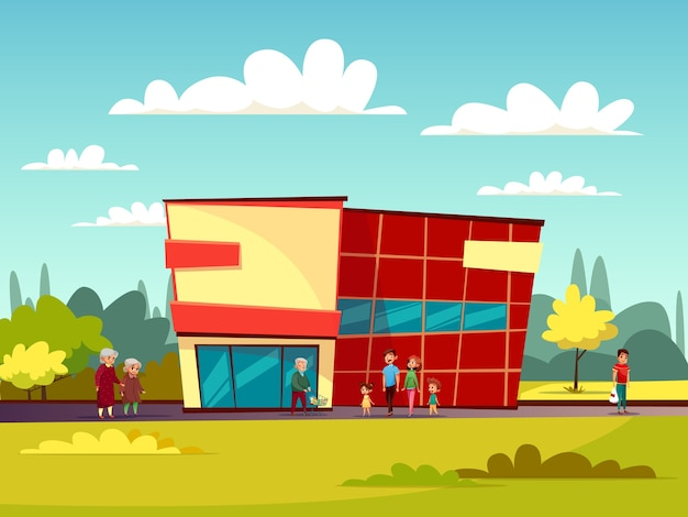 Supermarket building facade of cartoon trade\ center and people with shopping cart