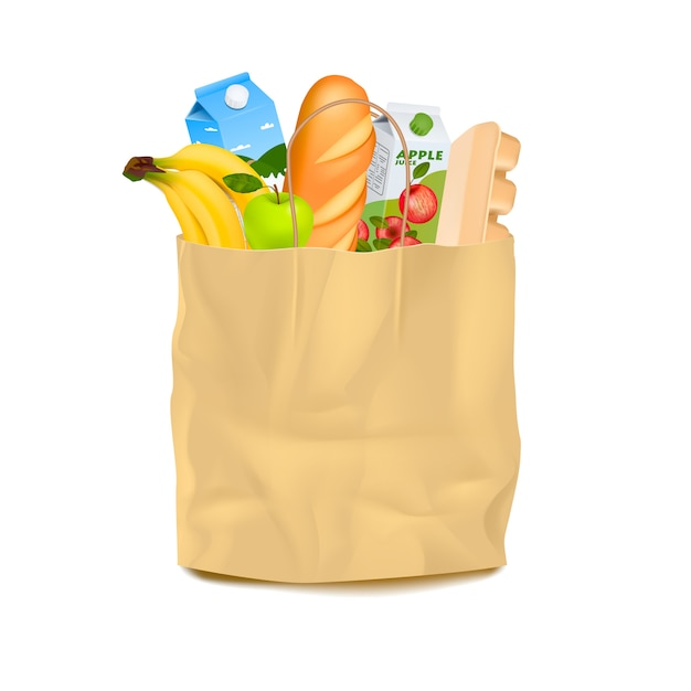 Supermarket carrier paper bag with food Free Vector
