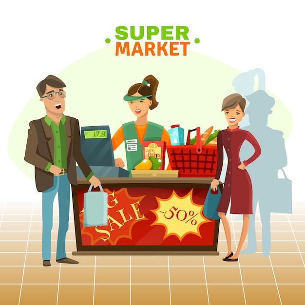 Supermarket cashier cartoon illustration Free Vector