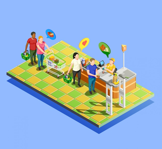 Supermarket checkout isometric composition Free Vector