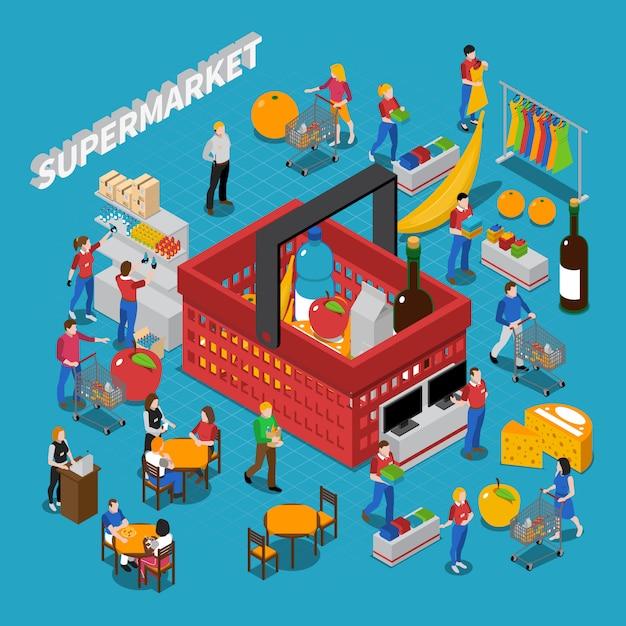 Supermarket concept composition Free Vector