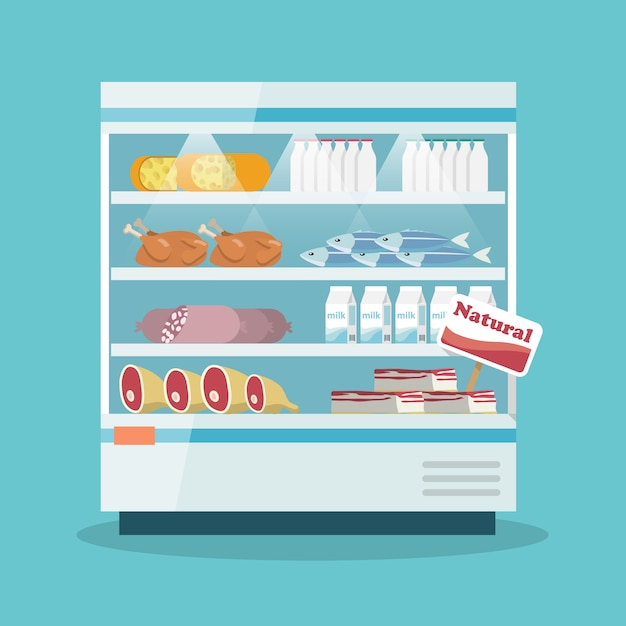 Supermarket cooling shelves food collection Free Vector