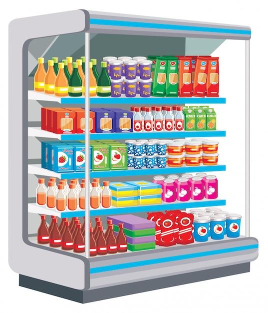 Супермаркет. молочные продукты. вектор Premium векторы