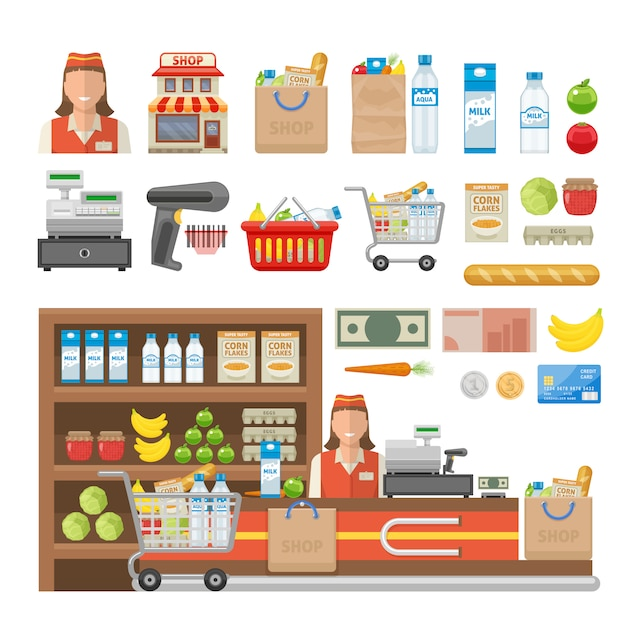 Supermarket decorative elements set with employee equipment of shop food cash and banking card isolated vector illustration Free Vector
