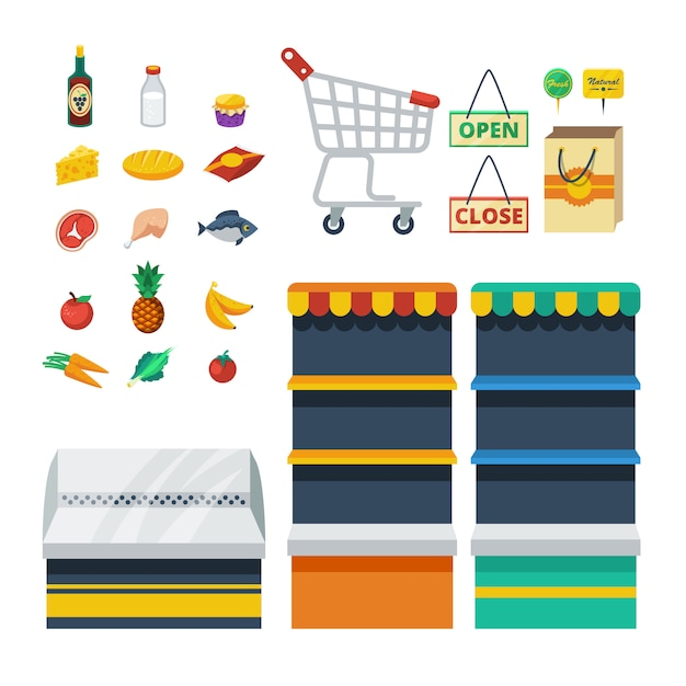 Supermarket decorative icons collection Free Vector