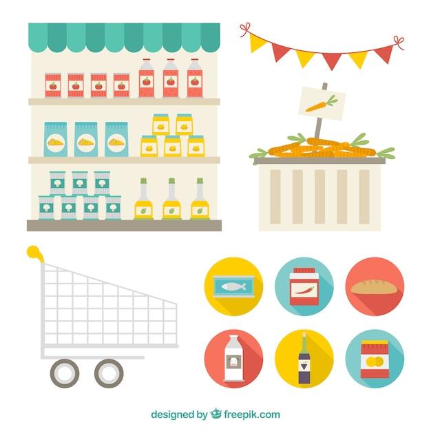 Supermarket elements Premium Vector