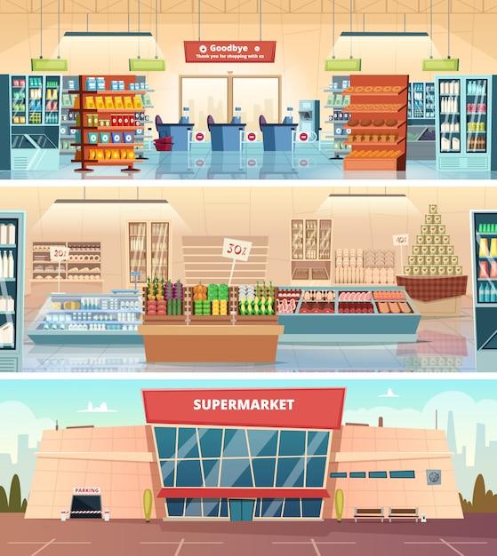 Супермаркет фасад. торговый центр внутри продуктового рынка в иллюстрациях мультфильма кассира Premium векторы