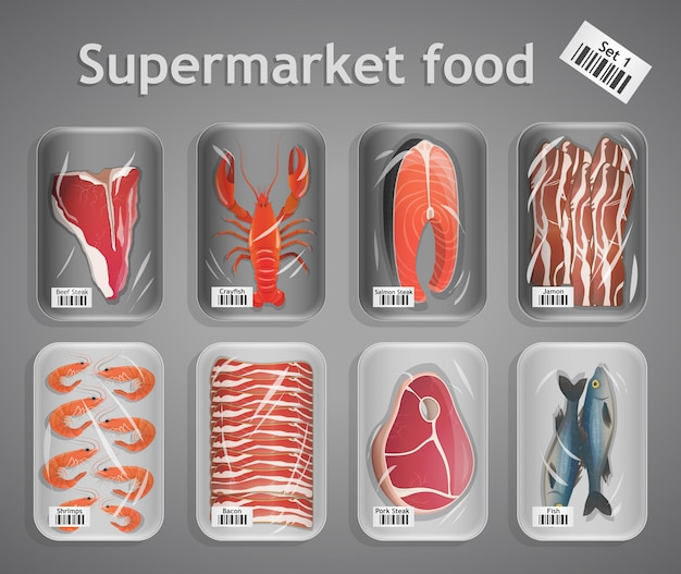 Supermarket fish and meat set illustration Free Vector
