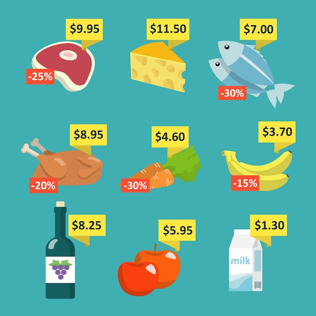 Supermarket food and drink selection icons set with price tags and discount labels flat vector illustration Free Vector