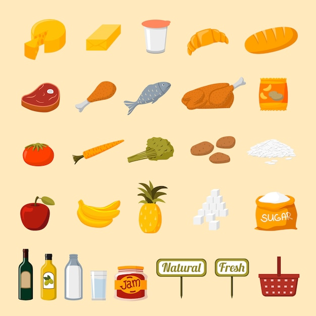 Supermarket food selection icons Free Vector