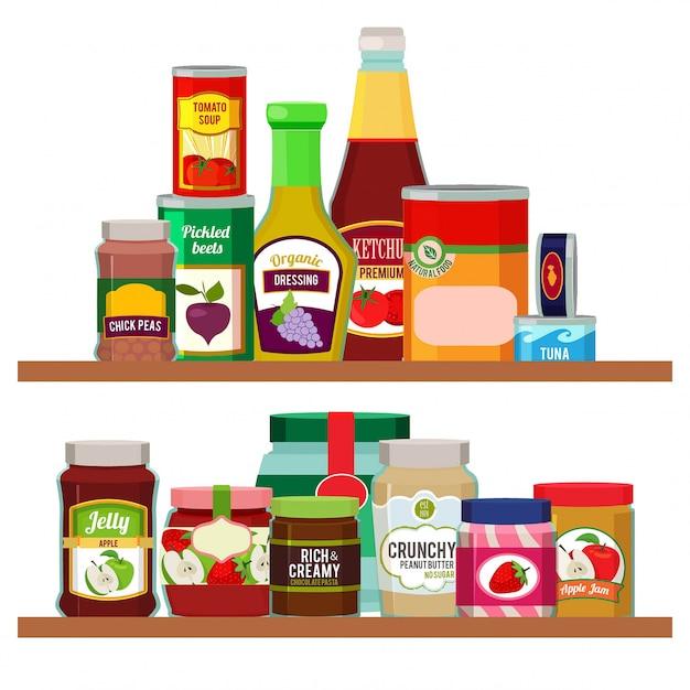 Supermarket foods. grocery items on shelves Premium Vector