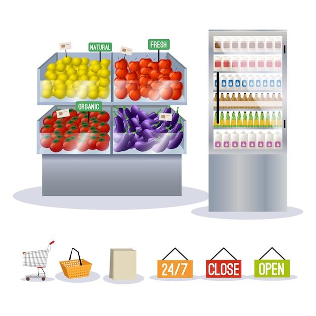 Supermarket fruits vegetables Premium Vector
