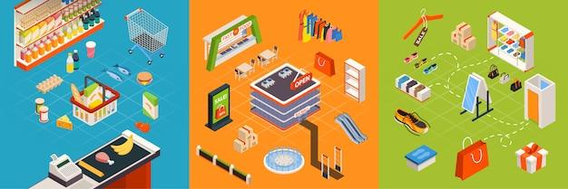 Supermarket furniture isometric set Free Vector