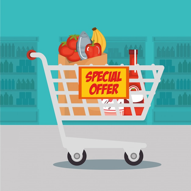 Supermarket groceries in shopping cart Free Vector