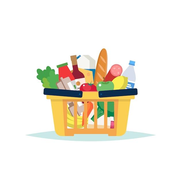 Корзина продуктов в супермаркете, полная разных продуктов Premium векторы