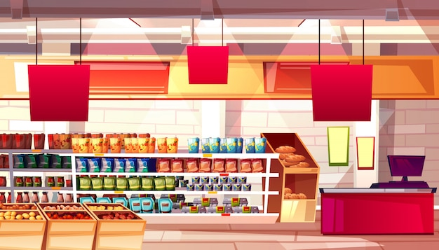 Supermarket and grocery food products on shelves illustration. Free Vector