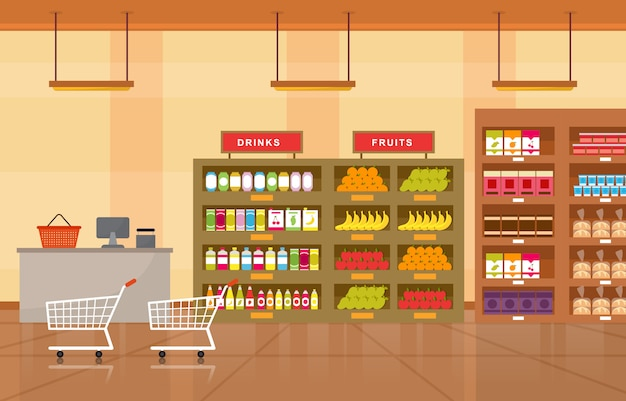 Supermarket grocery shelf store retail shop mall interior flat illustration Premium Vector