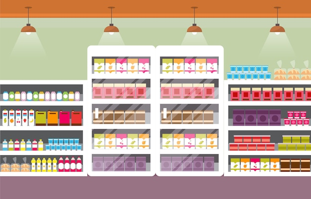 Supermarket grocery shelf store retail shop mall interior flat illustration Premium Vector