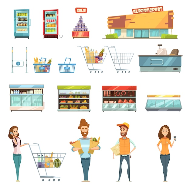 Супермаркет продуктовых магазинов ретро мультфильм иконки с покупателями тележки корзины продуктов питания и продуктов Бесплатные векторы
