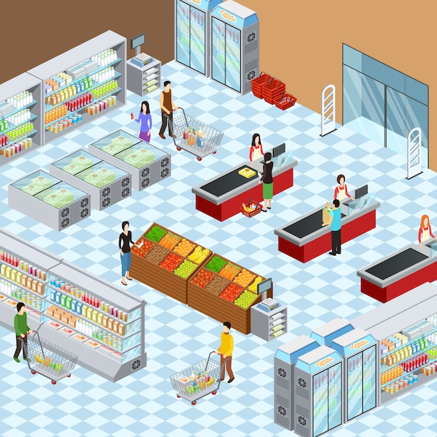 Supermarket grocery store interior design isometric composition Free Vector