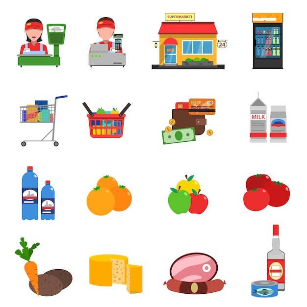 Supermarket icons set Free Vector
