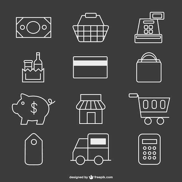 Supermarket icons Free Vector