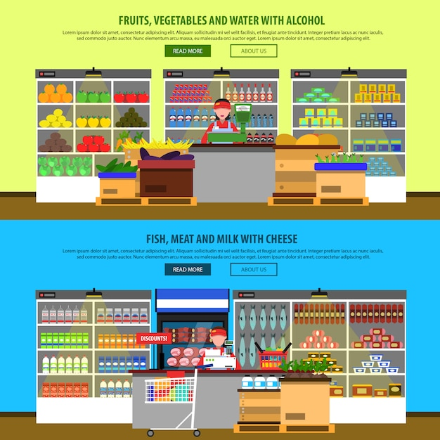 Supermarket interior banners Free Vector