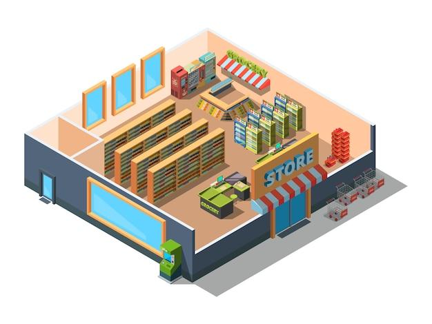スーパーインテリア。 3d低ポリ等尺性機器と食料品のセクションと小売市場の建物モールの断面 Premiumベクター