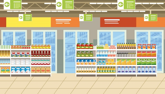 Supermarket interior with food on shelves vector Premium Vector