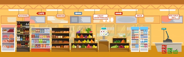 Supermarket interior with products. big store Premium Vector