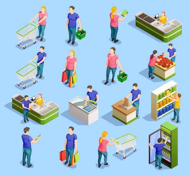Supermarket isometric elements collection Free Vector