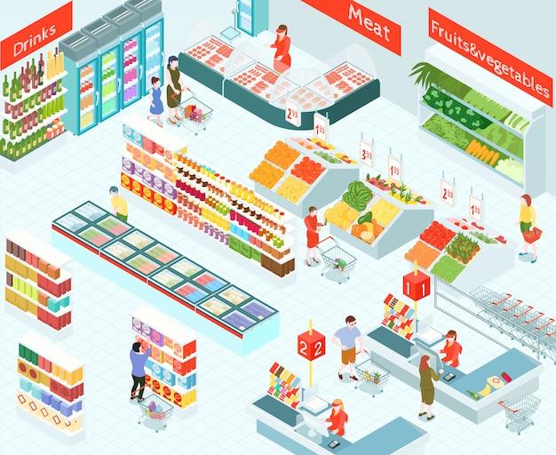 Супермаркет изометрические иллюстрация Бесплатные векторы