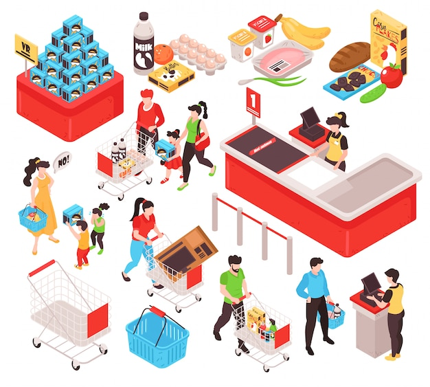 Supermarket isometric set with products offer promotion section trolley cart basket customers cashier white background Free Vector