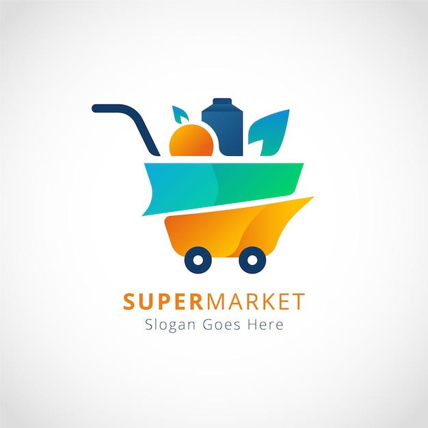 슈퍼마켓 로고 개념 프리미엄 벡터
