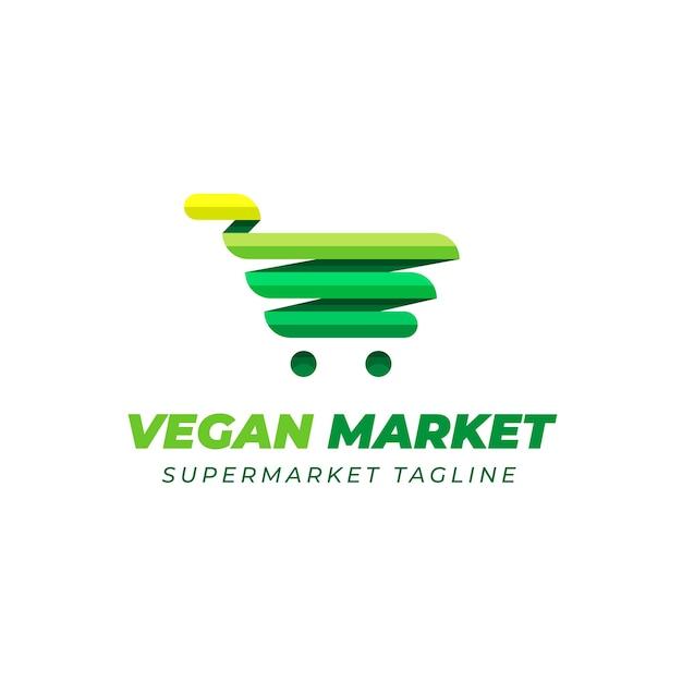 Supermarket logo design with green cart Free Vector