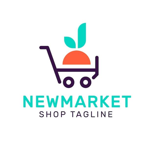 Стиль логотипа супермаркета с лозунгом магазина Бесплатные векторы