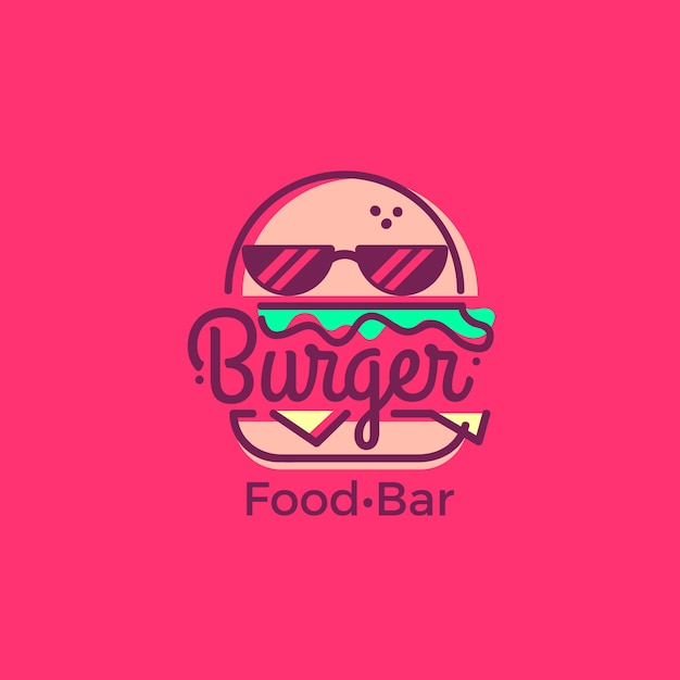Шаблон логотипа супермаркета с классным бургером Бесплатные векторы