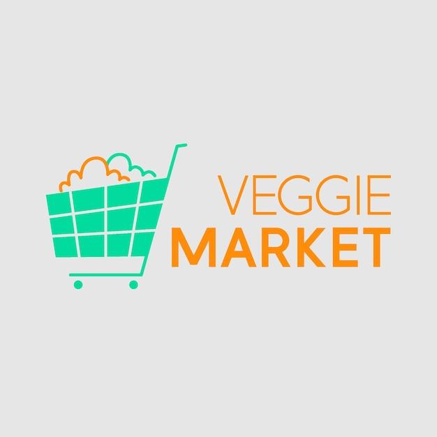 Супермаркет логотип с корзиной Бесплатные векторы