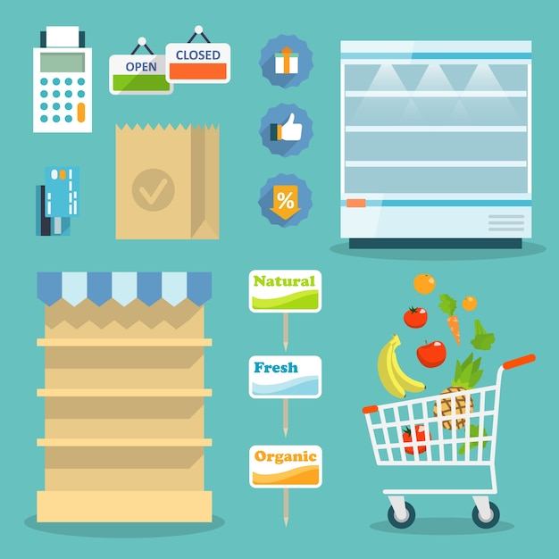 Supermarket online website concept with food assortment, opening hours and payment options icons illustration vector Free Vector