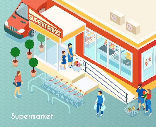 Supermarket outdoor isometric Free Vector