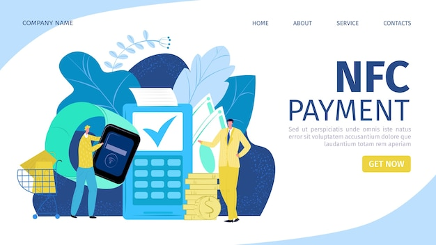 Supermarket payment with nfc paying landing page Premium Vector