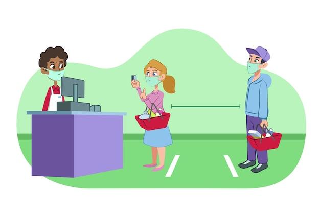 Супермаркет с безопасным расстоянием Бесплатные векторы