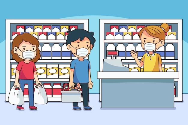 Coda del supermercato con distanza di sicurezza Vettore gratuito