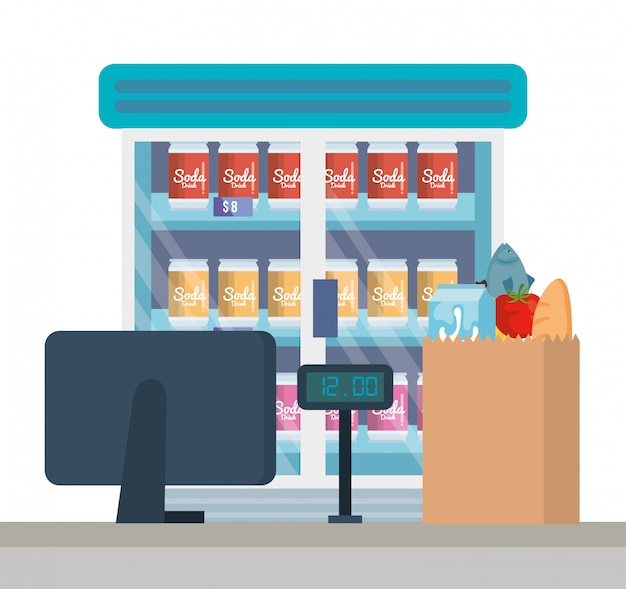Supermarket refrigerator with products and sale point Free Vector
