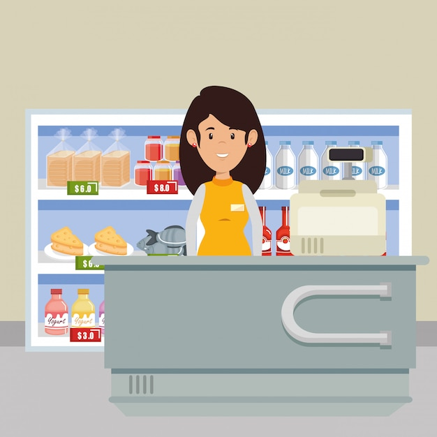 Supermarket seller woman character Free Vector